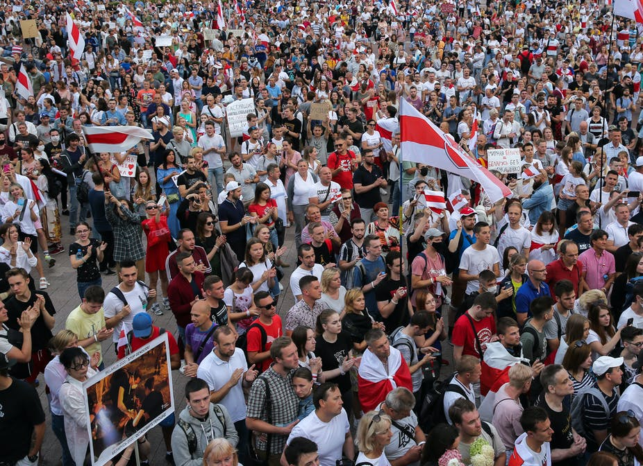 Opposition protesters in Minsk