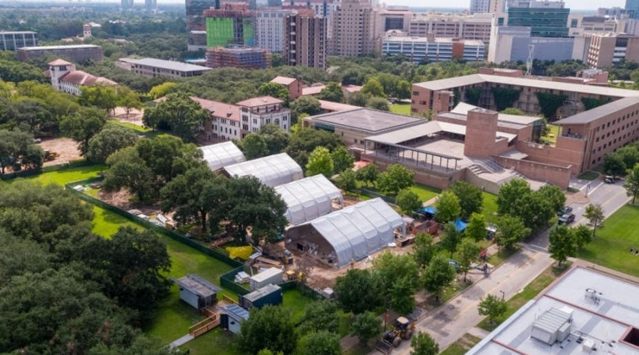 Rice University has installed tents and temporary buildings in which to hold in-person classes this fall.