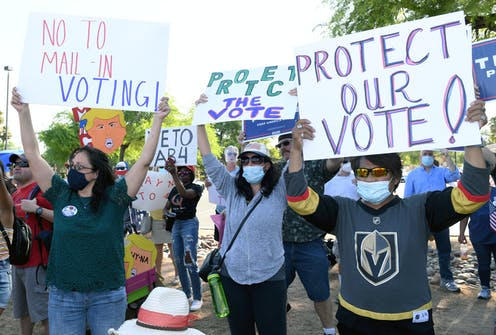Protesters against mail-in voting.