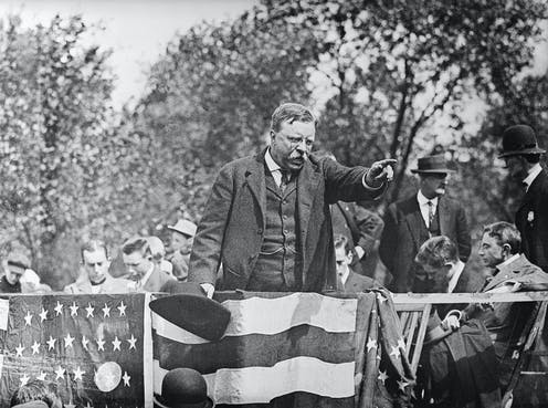 Theodore Roosevelt campaigning.