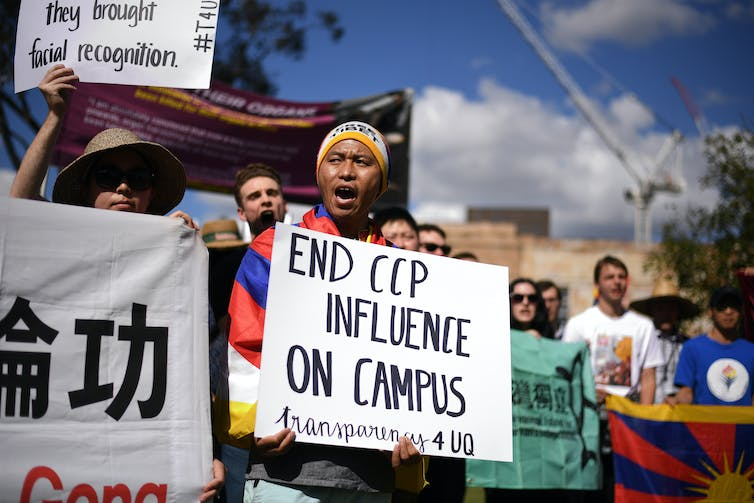 Student protesters against Chinese influence on Australian university campuses