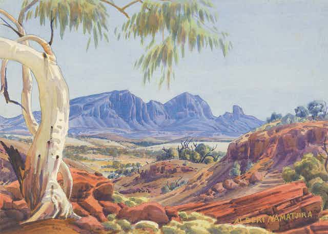 Landscape painting of Australian outback