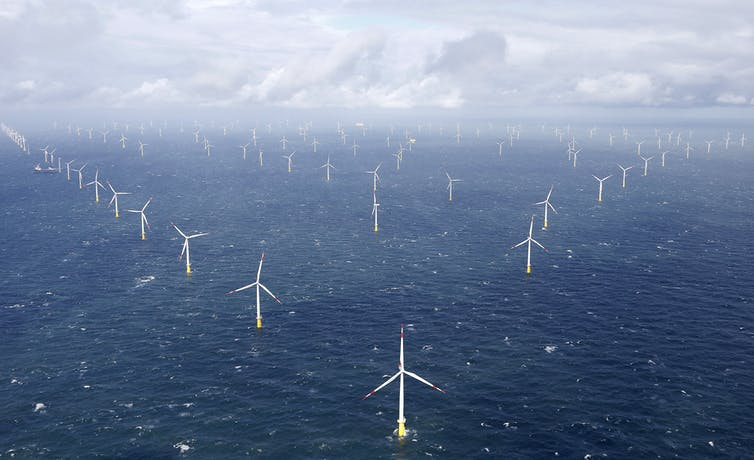 Aerial shot of an offshore wind farm