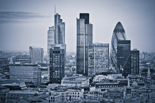 City of London skyline in grayscale.