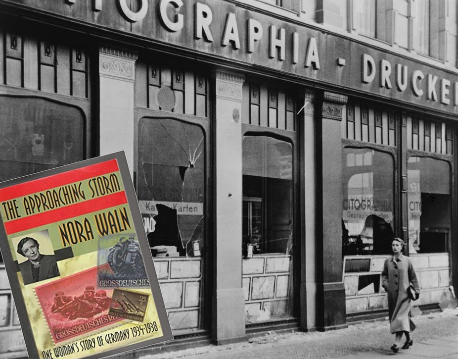 Woman walks past Jewish shop in Germany with windows broken during the Kristallnacht pogrom (inset, cover of Waln's memoir).