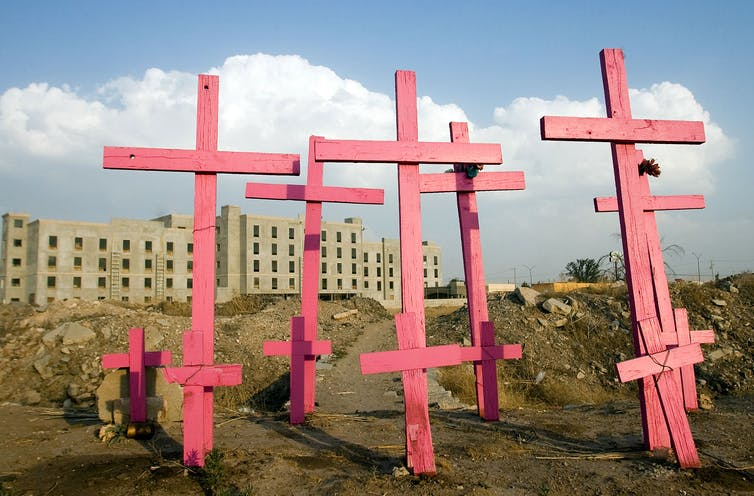 Eight pink wooden crosses mark a mass grave at a construction site