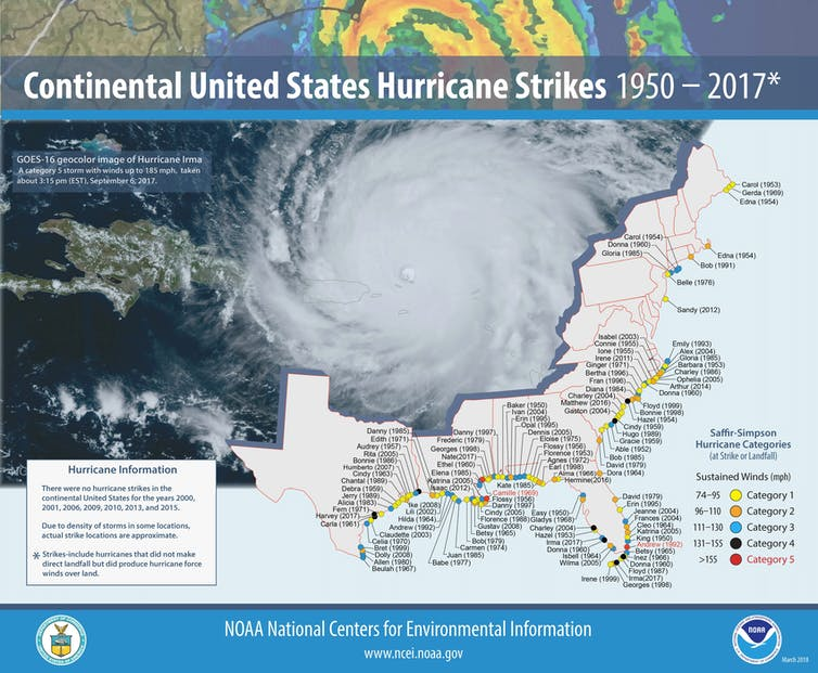 Map showing hurricanes strikes on U.S. coasts 1950-2017.
