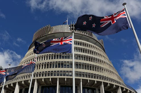 New Zealand parliament building and New Zealand flags