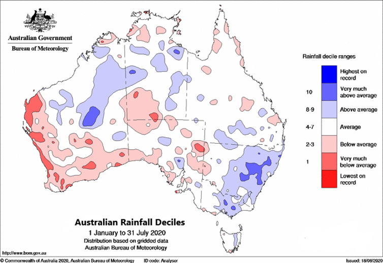 Graph showing the impact of recent rain across Australia