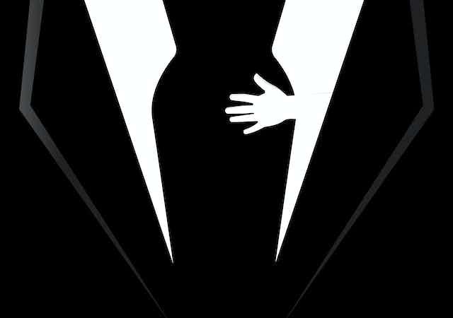 Illustration showing hand on female bottom.