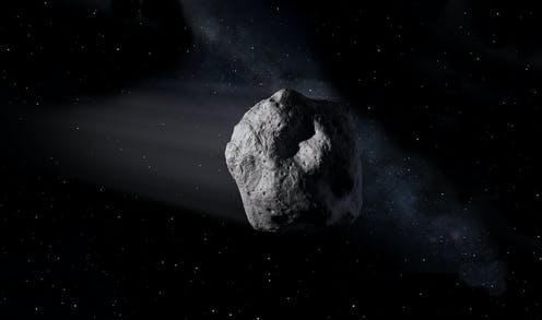A drawing of an asteroid in space.