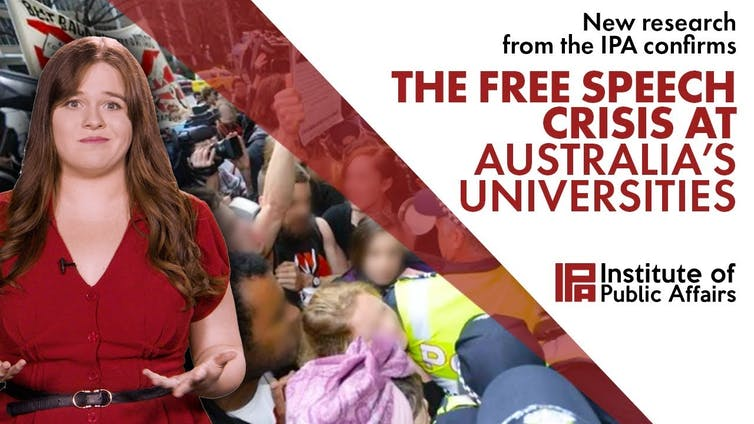Screen grab from IPA YouTube video on 'The Free Speech Crisis at Australia's Universities