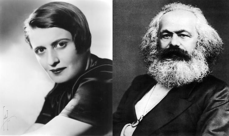 Portraits of Ayn Rand and Karl Marx