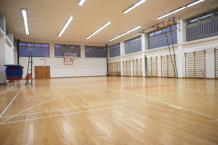 Empty school gymnasium.