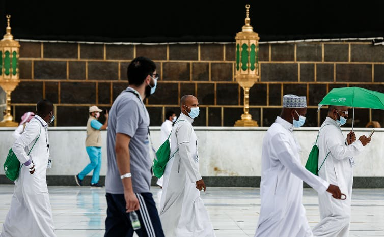 Social distancing around the Kaaba in Mecca during this year's hajj