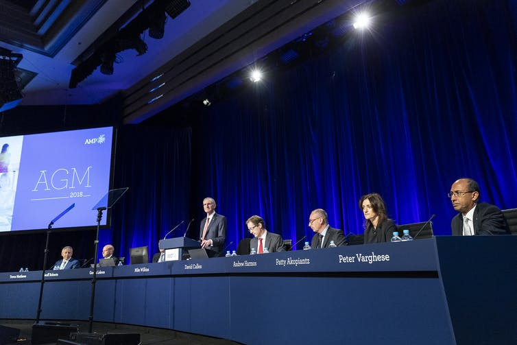 AMP board members face shareholders at the company's 2018 annual general meeting