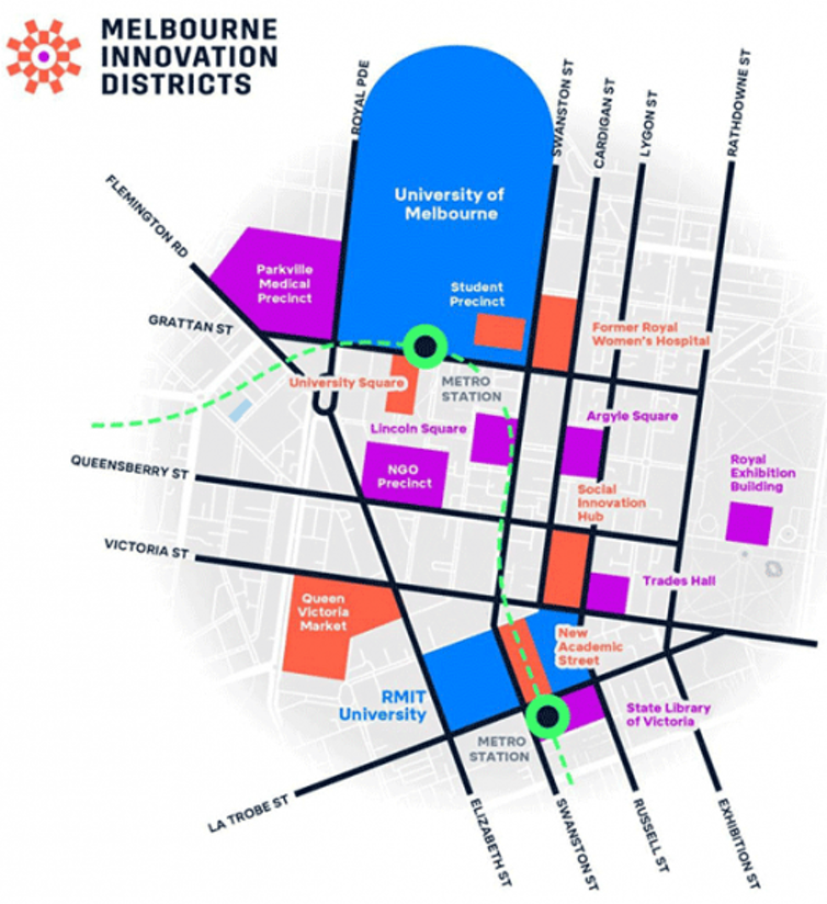 Map of Melbourne Innovation District just north of the CBD.