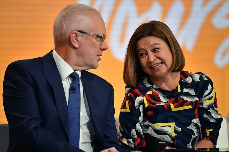 Former ABC chair Justin Milne and former managing director Michelle Guthrie