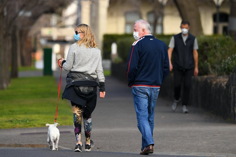 Woman and man wearing masks, while walking a dog down suburban street.