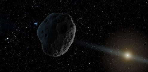 Illustration of asteroid with Sun in background
