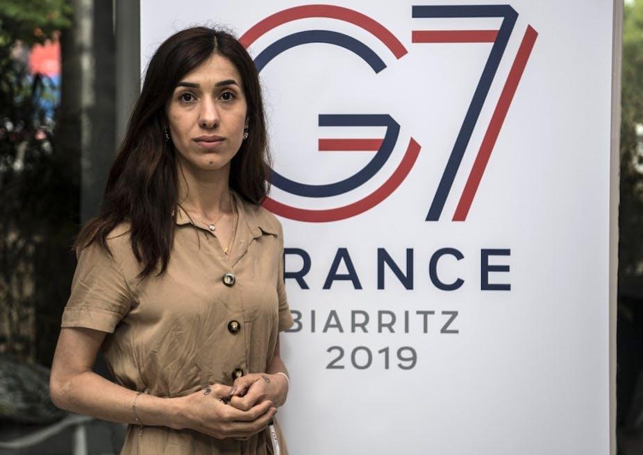 Nadia Murad au G7 en 2019 Biarritz