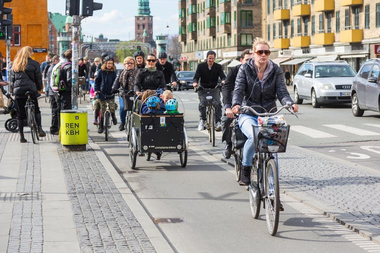 Cyclists in Copenhagen, Denmark.