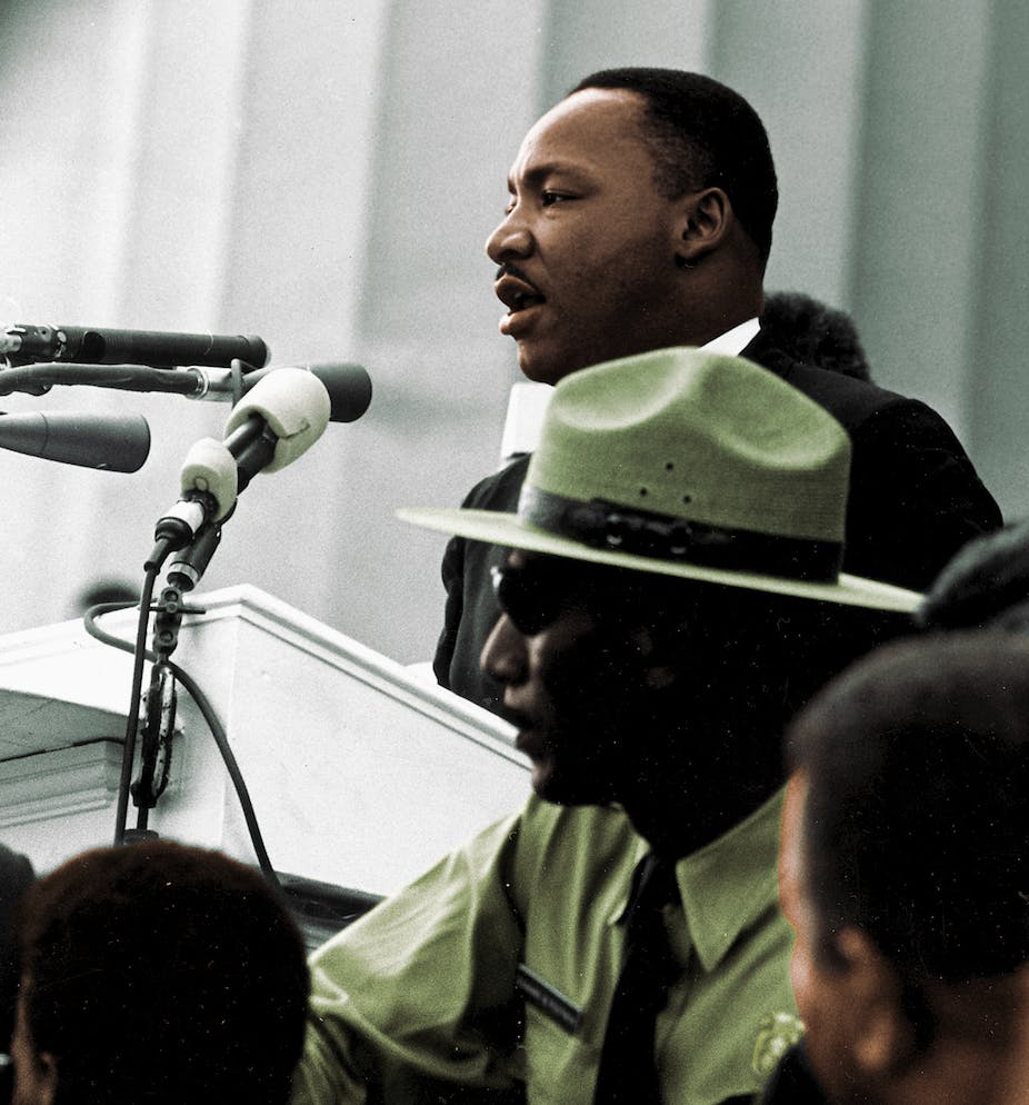 Martin Luther King, Jr., speaking to crowd.