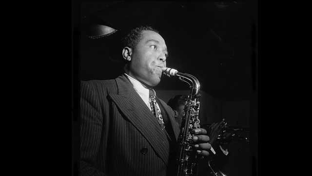 American saxophonist Charlie 'Bird' Parker playing alto sax