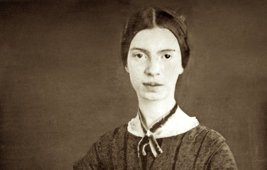 A digitally restored daguerrotype of Emily Dickinson from around 1847.
