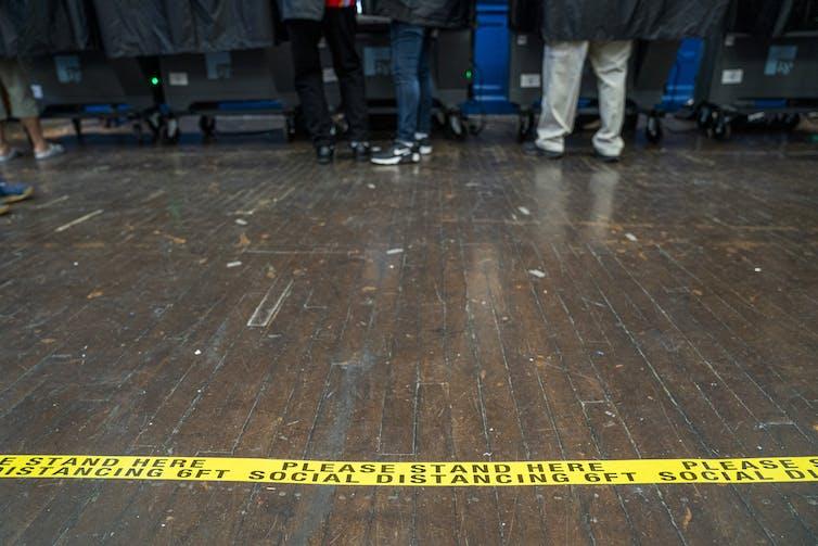 Voters in voting booths in Philadelphia.