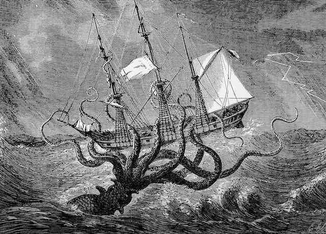 A giant squid attacks a schooner