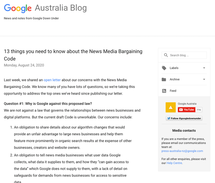A screen shot of a blog post from Google Australia.