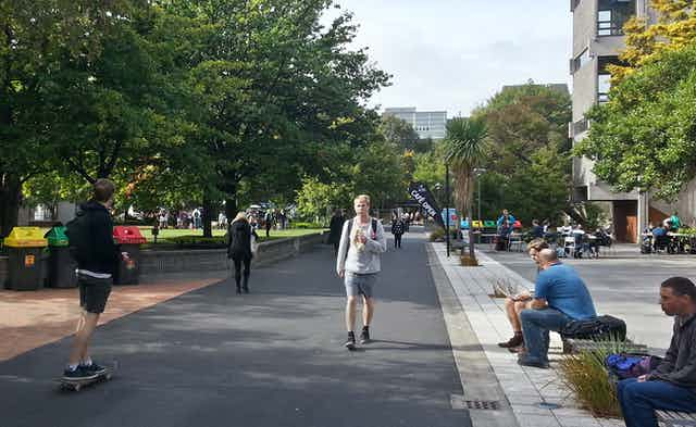 Students walking on campus at the University of Canterbury in Christchurch