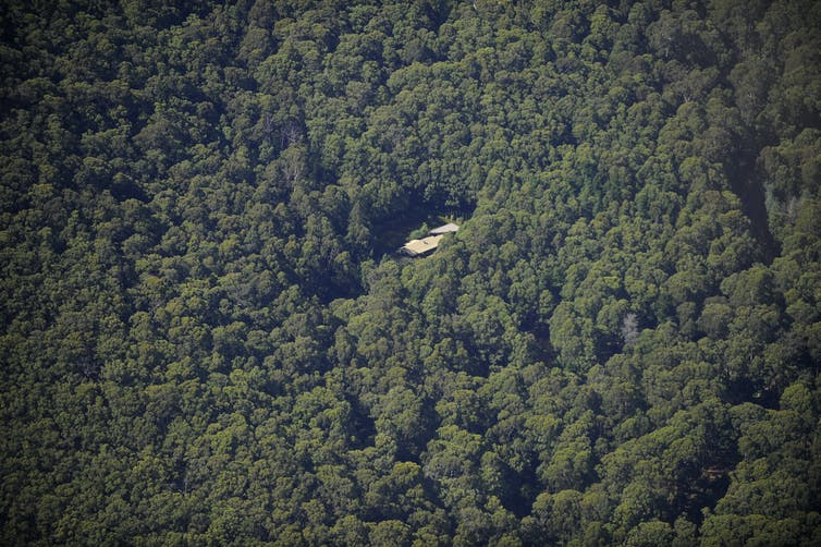 Aerial view of a house surrounded by dense bushland.