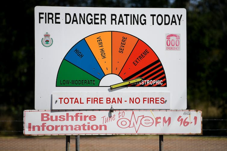 A fire danger rating sign, pointing to 'catastrophic'.