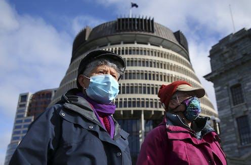 People in Wellington wearing face masks