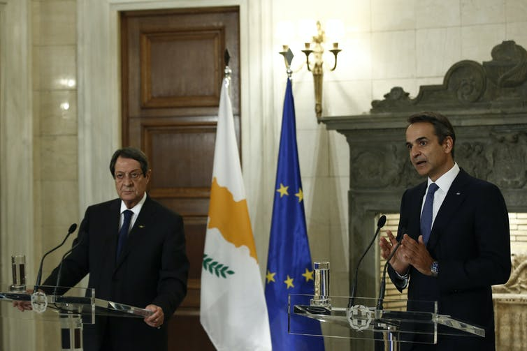 Greek and Cypriot leaders talk to the media.