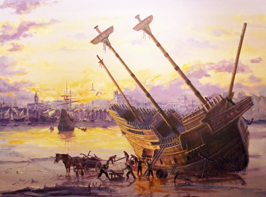Painting of a sailing ship aground unloaded by a horse and cart.