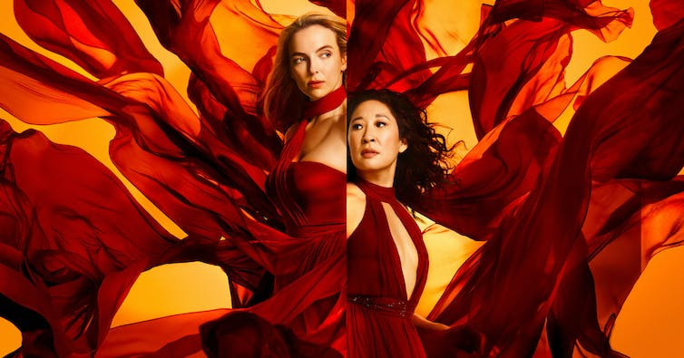 Sandra Oh and Jodie Comer in Killing Eve publicity shots in red dresses