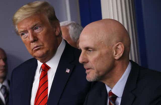 President Trump and Stephen Hahn, FDA commissioner.