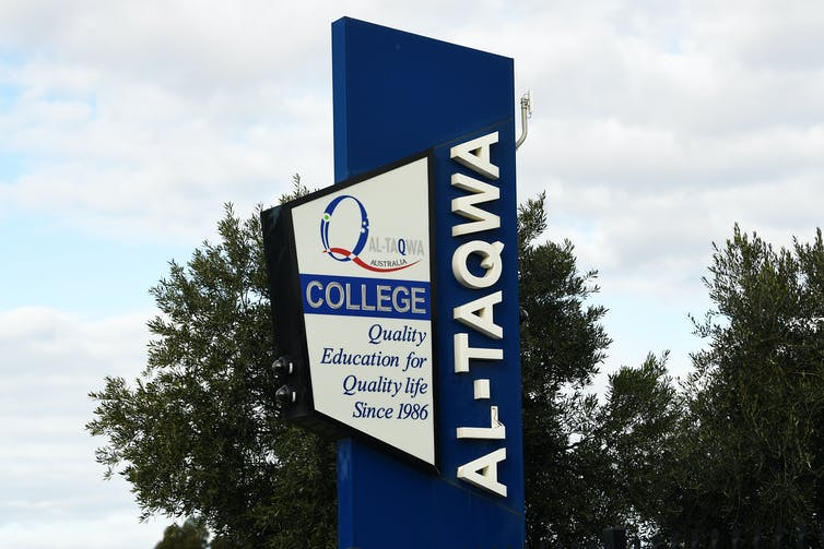 A sign out the front of Melbourne's Al-Taqwa College.
