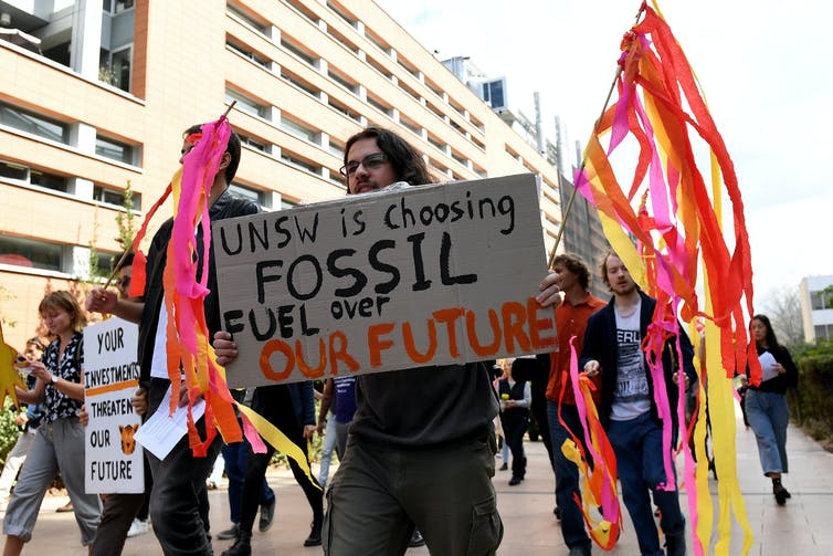 Student protesters demand the University of New South Wales divest from fossil fuels in September 2018.