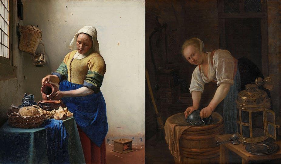 «La laitière» de Johannes Vermeer à gauche et «La femme récurant une bassine en métal»  de Jan Steen à droite montrent des degrés variables de blanchiment du bleu outremer.