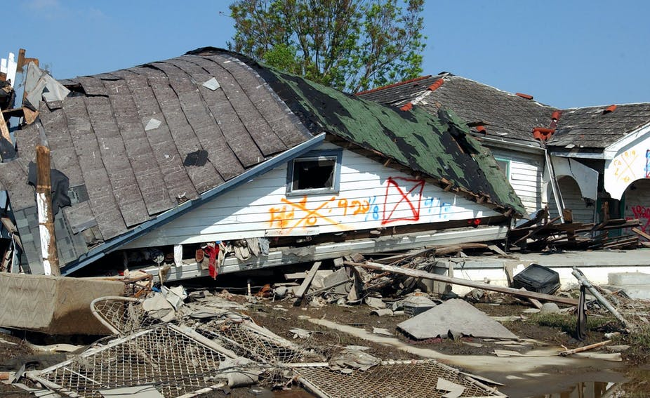 Houses destroyed by Hurricane Katrina in New Orleans.