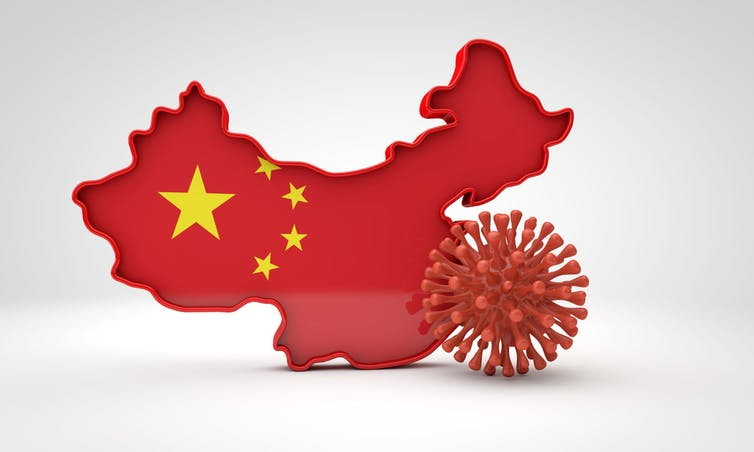 Map of China next to a COVID virus