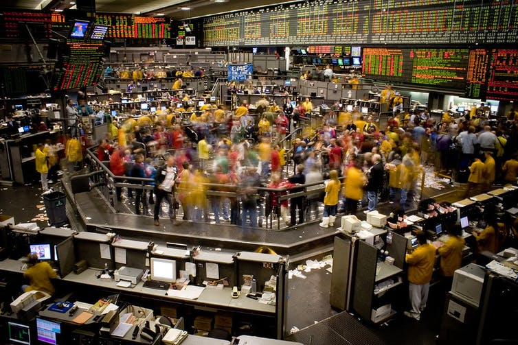 Open out-cry trading on the Chicago Mercantile Exchange