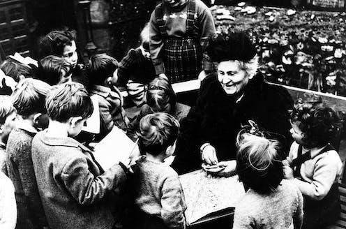 Italian educator Maria Montessori visiting a Montessori school in London