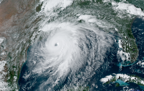 A satellite image of Hurricane Laura.