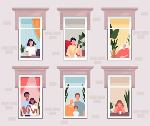 Illustration of 6 people or groups of people looking out of 6 windows