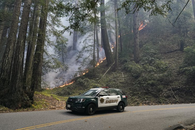 Police car in California drives through burning forest.